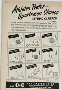 Vintage 1949 OC Olympic Champion Apex Sports Jockstrap Support Print Ad