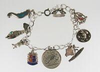 Vintage .925 Sterling Silver Charm Bracelet Flexible Fish Birdcage Seahorse Cow
