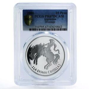 Argentina 25 pesos Dressage Man on Horse PR67 PCGS proof silver coin 2000