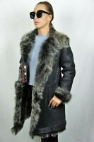 100% REAL SHEEPSKIN SHEARLING LEATHER Toscana Buttons Collar Fur Coat XS-6XL