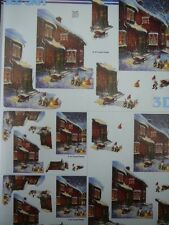 Christmas Card Making 3D Paper Tole Snow on Cottage