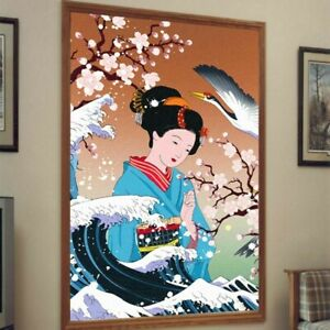 3D Window Film Geisha Stained Fosted Static Cling Japanese Door Glass Sticker