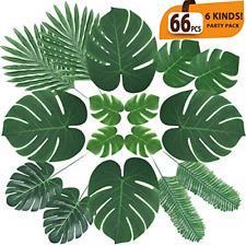 66Pcs Artificial Palm Leaves Tropical Faux w Stems for Jungle Party Decorations