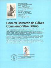 #8013 15c General de Galvez Stamp - Scott #1826 USPS Souvenir Page