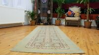 Beautiful Vintage 1980-1990's Wool Pile, Muted Vegy Dye Oushak Runner Rug 3x9ft