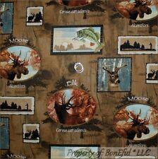 BonEful Fabric FQ Cotton Quilt VTG Wood Real Tree CABIN Moose ELK Deer Fish Hunt