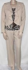 Nwt Kasper Size 14 Beige Career Ruffle Front Jacket, Printed Shell & Pants