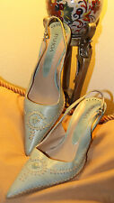 Vintage Pahoa Hand Made Sling Back Leather Pale Turquoise Heels