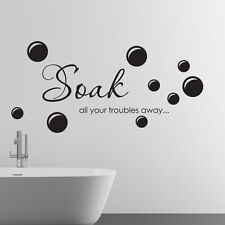 Bathroom wall sticker soak your troubles away art quotes decal w96