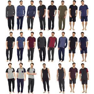 Mens Boys Cotton Pyjamas Short/Long Sleeve Nightwear Pyjama Set PJs Size M-XXL