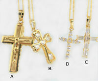 18k Gold Filled Cross Pendant Necklace, 4 Designs, Swarovski Crystals, Gift Box