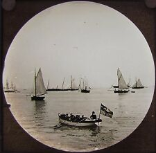 Glass Magic Lantern Slide GERMAN SAILORS COWES C1890 ISLE OF WIGHT PHOTO YACHTS