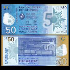 Uruguay 50 Pesos, 2017(2018), P-NEW, Polymer, 50th COMM. UNC