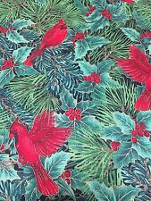 Cardinals Holly Pine Holiday Cotton Fabric Gold Metallic Quilt Sew Cranston BTY