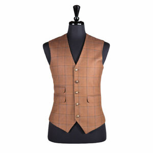 Mens Dress Vest Wool Brown Check Plaid Formal Wedding Tuxedo Suit Waistcoat M 40