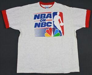 Vintage 90's NBA On NBC Salem Sportwear Roll Cuff T-Shirt XL Single Stitched