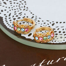 18k Yellow Gold Filled Fashion Multi-Colour Zircon Elegant Hoop  Earrings