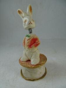 Vintage Plaster Figural Candy Container Easter Bunny Bobblehead Nodder Figurine