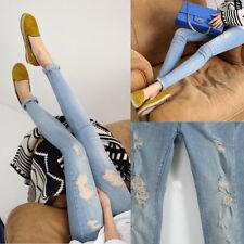 Pregnant Women Denim Skinny Maternity Pants Over Bump Slim Pencil Jeans Trousers