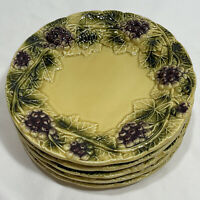 "(Set of 5) Ancora Rustic Grape Embossed Round Salad Plate(s) 8"" Italy"