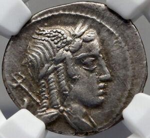 Roman Republic Apollo Vejovis 85BC Rome Authentic Ancient Silver Coin NGC i82691