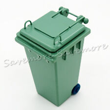 Sanitation Trash Can 1:12 Dollhouse Waste Bin Miniature Toy for Rement Green
