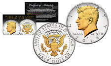 2016-D Kennedy Half Dollar US Coin SELECT 24KT Gold Gilded Details 2-Sided w/COA