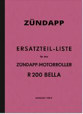 Zündapp Bella R 200 Roller R200 Ersatzteilliste Ersatzteilkatalog Teilekatalog