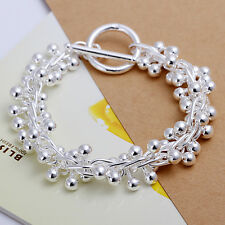 """European Sterling Silver Jewelry Smooth Grapes Women Chain Bracelet 8"""" H019"""