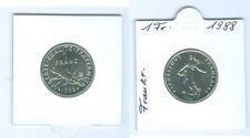 Francia 1 Franco 1988 fior di conio KMS Solo 94.011 Pezzo