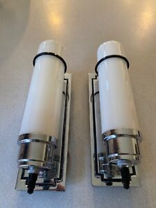 Antique Moe Bridges Pair Chrome Sconces Milk Glass Cylinder Shades Light Fixture
