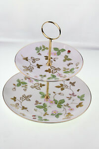 Wedgwood Wild Strawberry Gold 2 Tier Cake Stand - Ex Display (Discontinued)