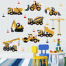 Cartoon Excavator Construction Wall Decals Boy Nursery Kids Room Stickers PVC