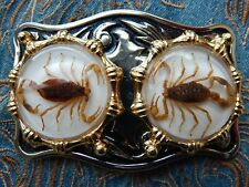 NEW DOUBLE GOLDEN SCORPION BELT BUCKLE SILVER AND GOLD COLOUR METAL COWBOY, GOTH