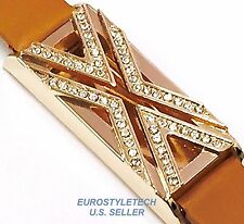 Brown Leather Band Metal Rose Gold Holder For Fitbit Flex Crystals Encrusted