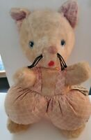Vintage Knickerbocker Cat Kitten Plush Stuffed Animal Blue Eyes in Pink Pants