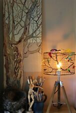 Birdcage Bird Decor Lampshade with Industrial style Tripod Table Lamp wood base
