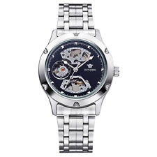 Luxury Skeleton Mens Automatic Watches Silver Stainless Steel Wristwatch