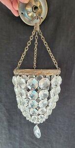 ANTIQUE CRYSTAL GLASS BAG CHANDELIER CEILING LIGHT SHADE GLASS LUSTRE DROPS
