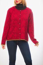 Oleana Norway Cardigan L Wool Silk Blend Red