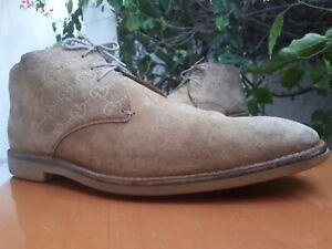 Gucci GG 147548 Men's Beige Suede Chukka Boots Size US 10 || EU 43.5 E