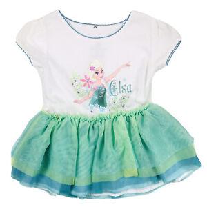 Disney Parks Toddler Green White Short Sleeve Knit Frozen Elsa Tutu Dress 2T NEW