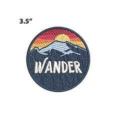 New ListingWander - Mountains & Sunset Embroidered Patch Iron-on / Sew-on Nature Applique