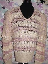 Colleen Toland Vntg chic 80's Sweater Top hand knitted pink/beige pastel Size L