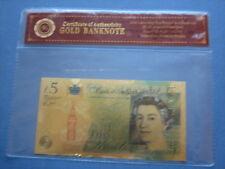 24K PLACCATO ORO NUOVO Churchill colourised £ 5 Cinque sterline banconote + CUSTODIA + COA nota
