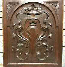 Scroll laves armorial wood carving panel Antique french architectural salvage