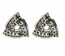 Antique Silver Triangle Crystal Stud Earrings