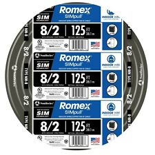 Southwire Romex 125-ft 8-2, 600 Volts & 8 AWG Non-Metallic Wire With Ground, New