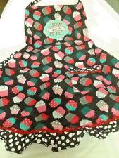 St. Nicholas Square BIB APRON~How Sweet It Is~Adult~Black w/Cupcake Design~NEW
