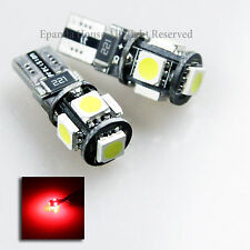 NEW ERROR-FREE! 2X JDM RED 5-LED 5050 SMD CANBUS T10 194 168 912 921 W5W BULBS
